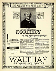 1921 Ad Waltham Watch Massachusetts Ligne Inventor Marsh Needle Gauge SCA4