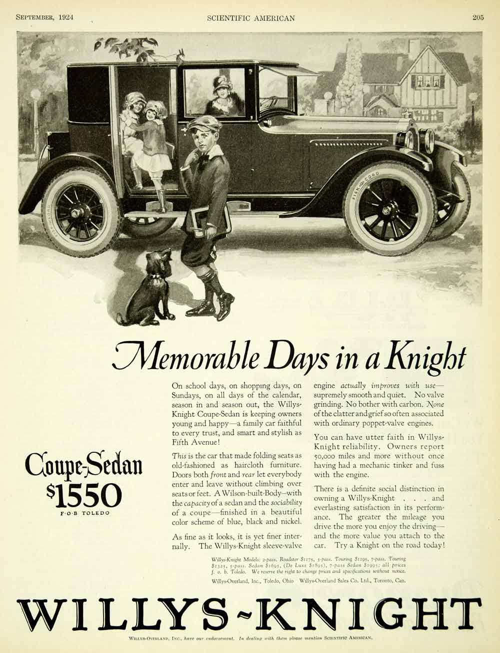 1924 Ad Willys Knight Overland Coupe Sedan Car Automobile Schoolboy Toledo SCA4