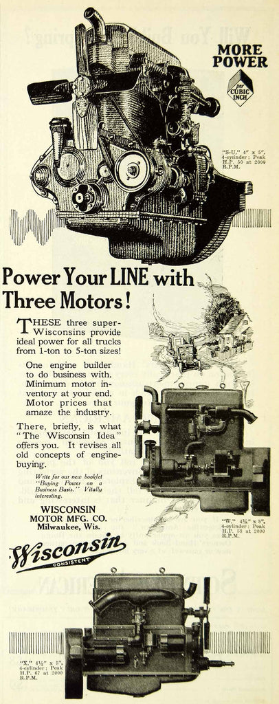 1925 Ad Wisconsin Motor Manufacturing Truck Engines Advertising SCA4