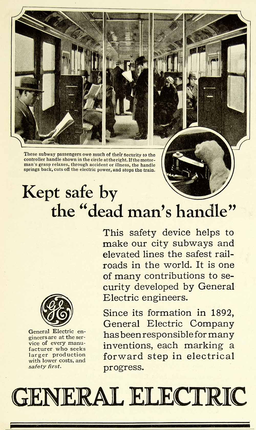 1924 Ad General Electric GE Dead Man's Handle Innovation Invention SCA4