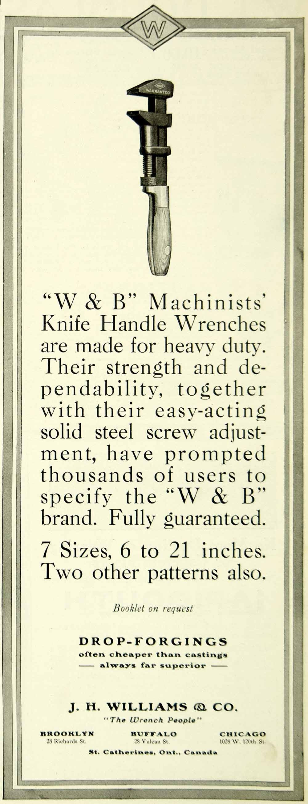 1921 Ad Drop Forged W&B Machinists' Knife Handle Wrenches J.H. Williams SCA4