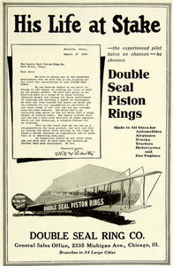 1921 Ad Double Seal Piston Ring Automobile Airplane Trucks Tractors SCA4