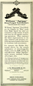 1921 Ad J.H. Williams Agrippa Superior Drop-Forged Tool-Holders Machinists SCA4