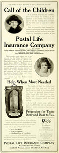 1921 Ad Postal Life Insurance Rates Policy Reserves Resources Whole-Life SCA4