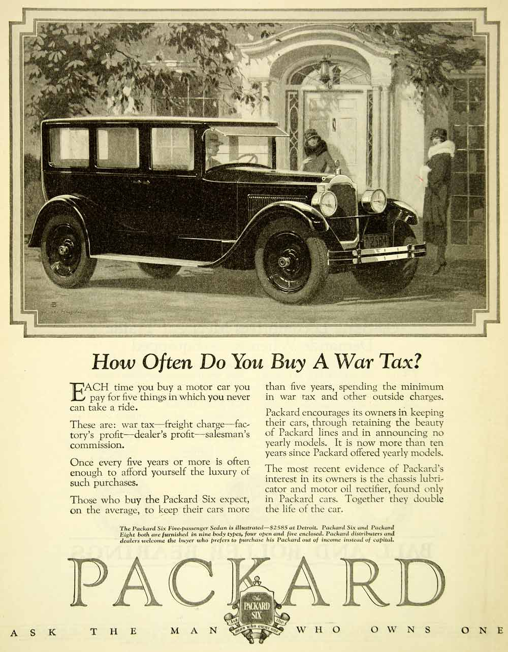 1926 Ad Antique Enclosed Packard Six Sedan Automobile Vehicle Motor Car SCA5