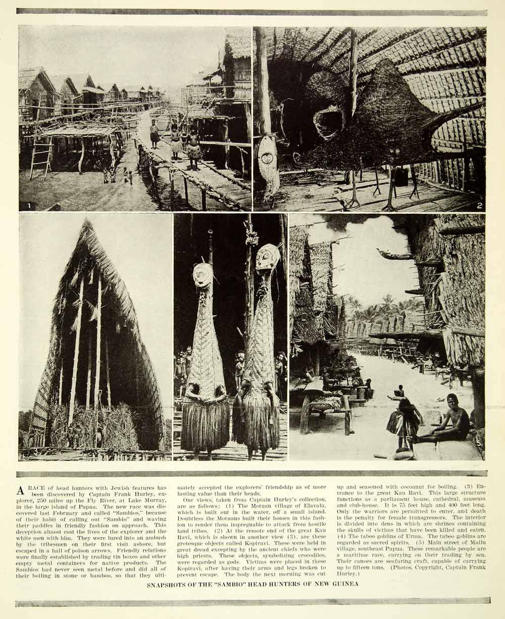 1924 Print New Guinea Sambio Headhunter Tribe Costume Architecture SCA5
