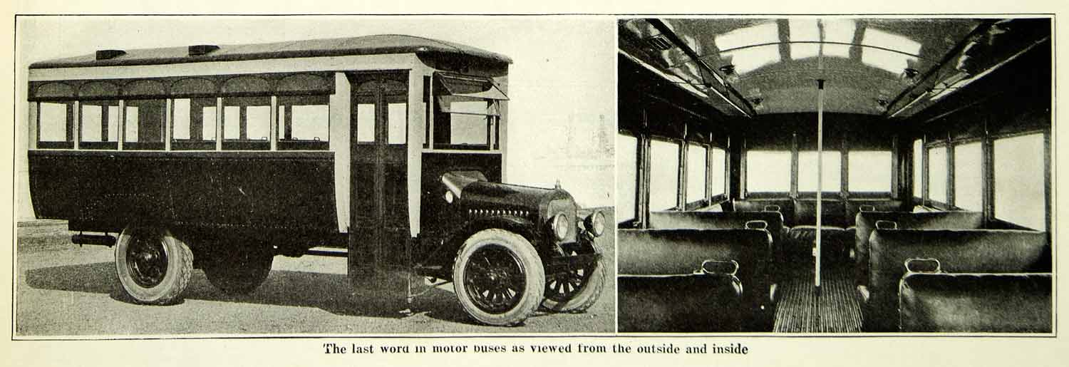 1921 Print Antique Motor Bus Interior Exterior Views Alternative SCA5