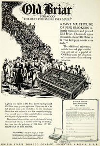 1927 Ad Old Briar Tobacco Pipe Smoking Smoker United States Richmond SCA6