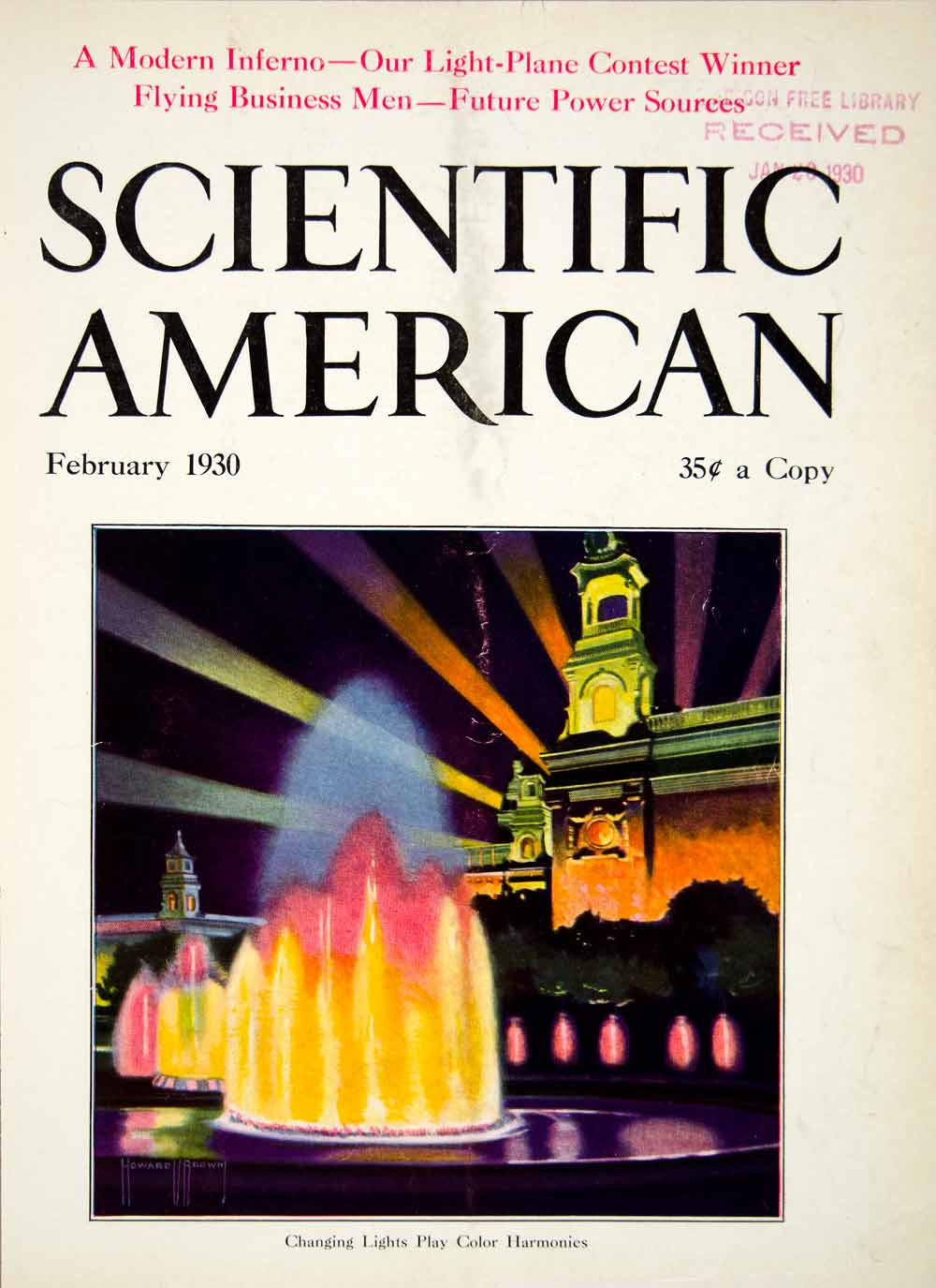 1930 Cover Scientific American Fountain Future Power Light-Plane Modern SCA7