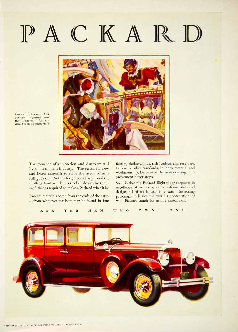 1929 Advert Packard Tusk Red Automobile Eight Car Transportation ...