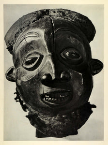 1955 Photogravure Cameroon Sculpture Bearded Mask Tribe Tribal Africa Art SCP2