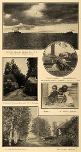 1913 Print Japanese Cruisers Cockington Village England ORIGINAL HISTORIC SEM1