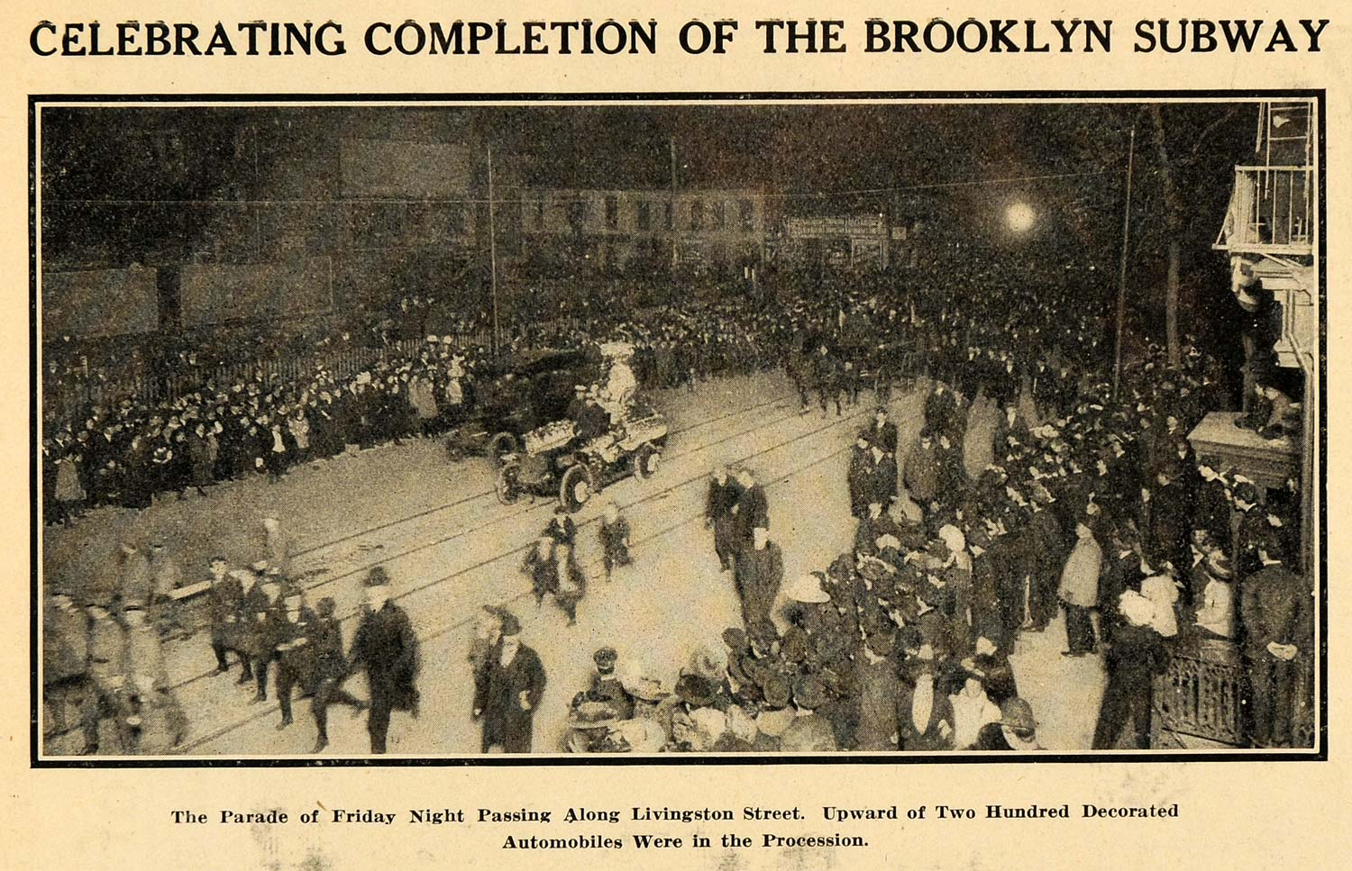 1908 Print Saturday Completed Brooklyn Subway Parade - ORIGINAL HISTORIC SEM1