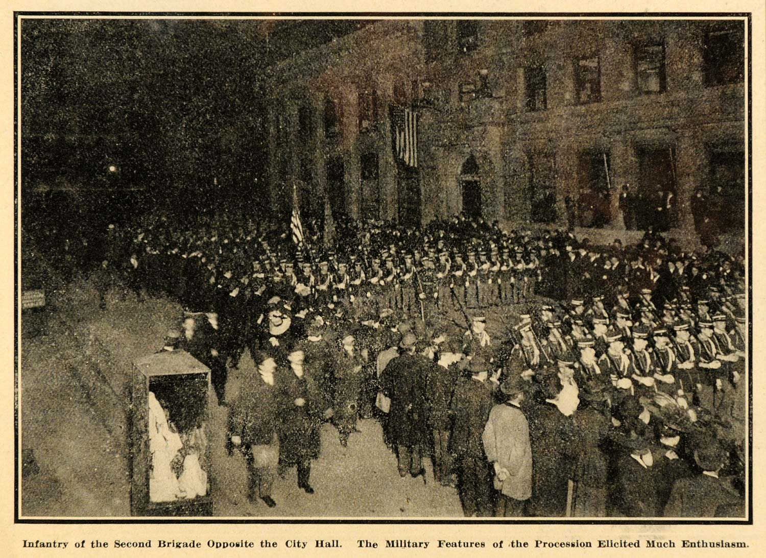 1908 Print Infantry Second Brigade Parade City Hall NY ORIGINAL HISTORIC SEM1