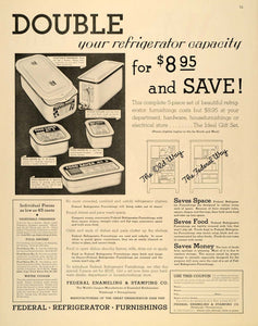 1932 Ad Federal Refrigerator Furnishing Cooler Stamping - ORIGINAL SEP3