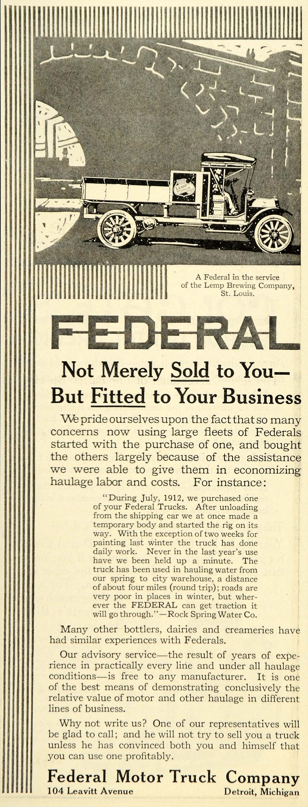 1914 Ad Federal Motor Truck Lemp Brewing Company - ORIGINAL ADVERTISING SEP3