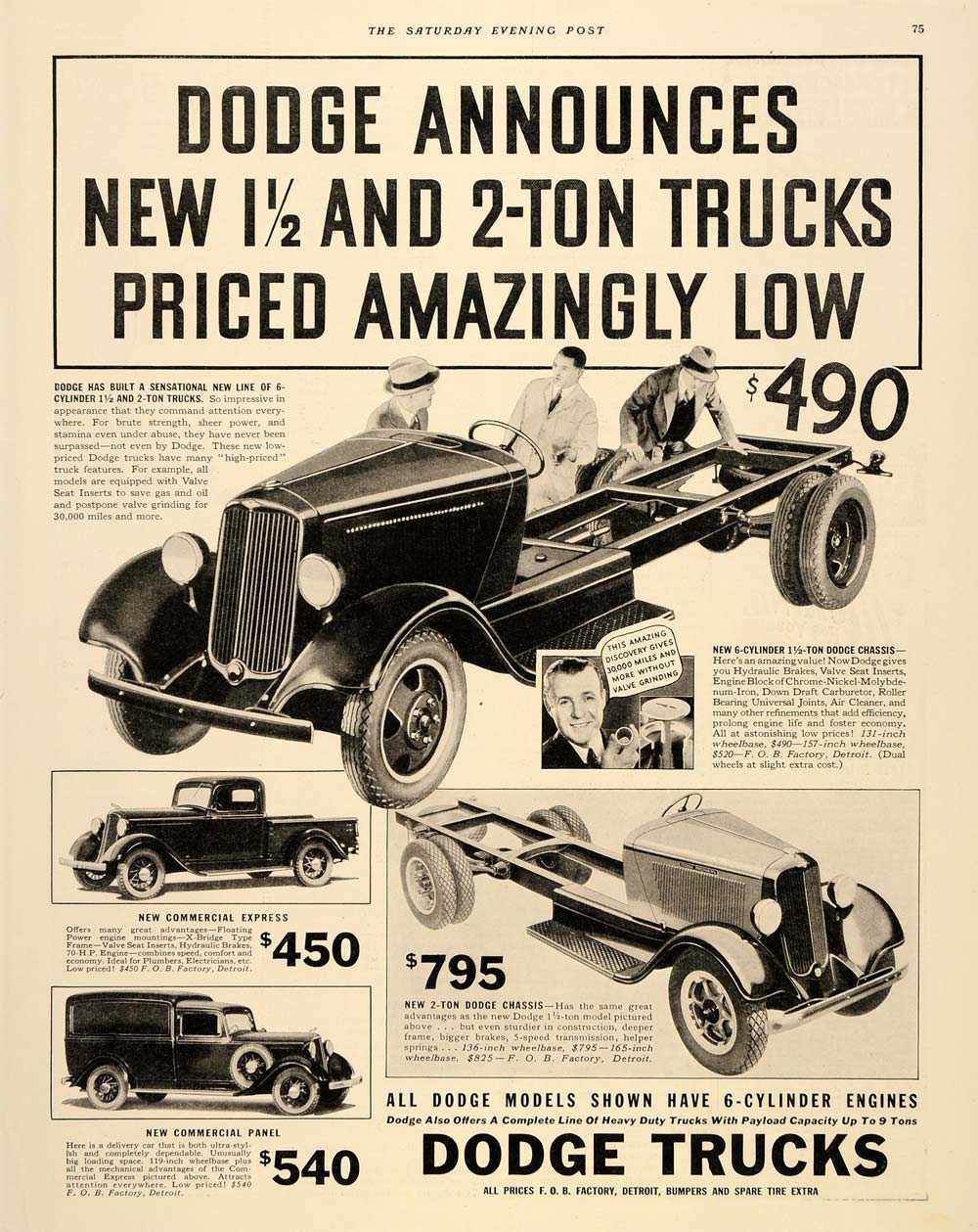 1933 Ad Commercial Express Panel Chassis Dodge Trucks - ORIGINAL SEP3