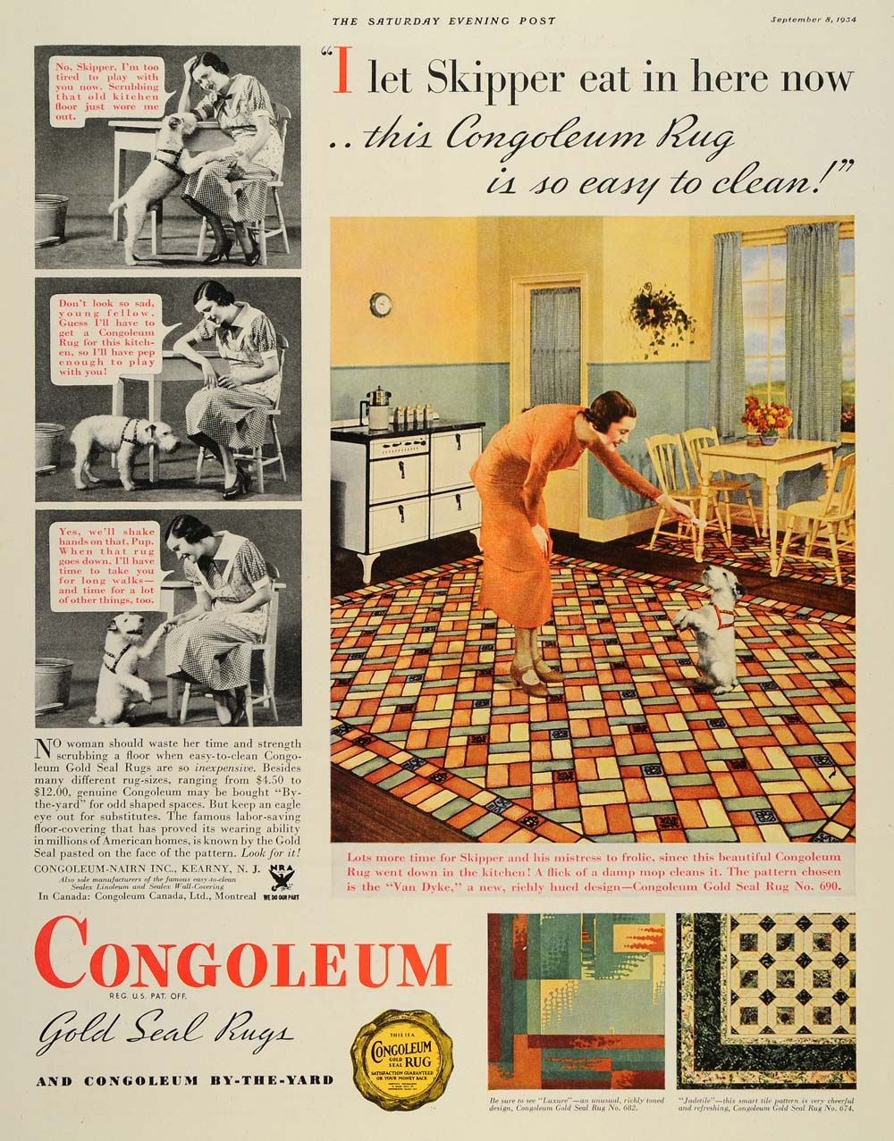 1934 Ad Nairn Congoleum Gold Seal Rug Clean Kitchen Dog - ORIGINAL SEP3