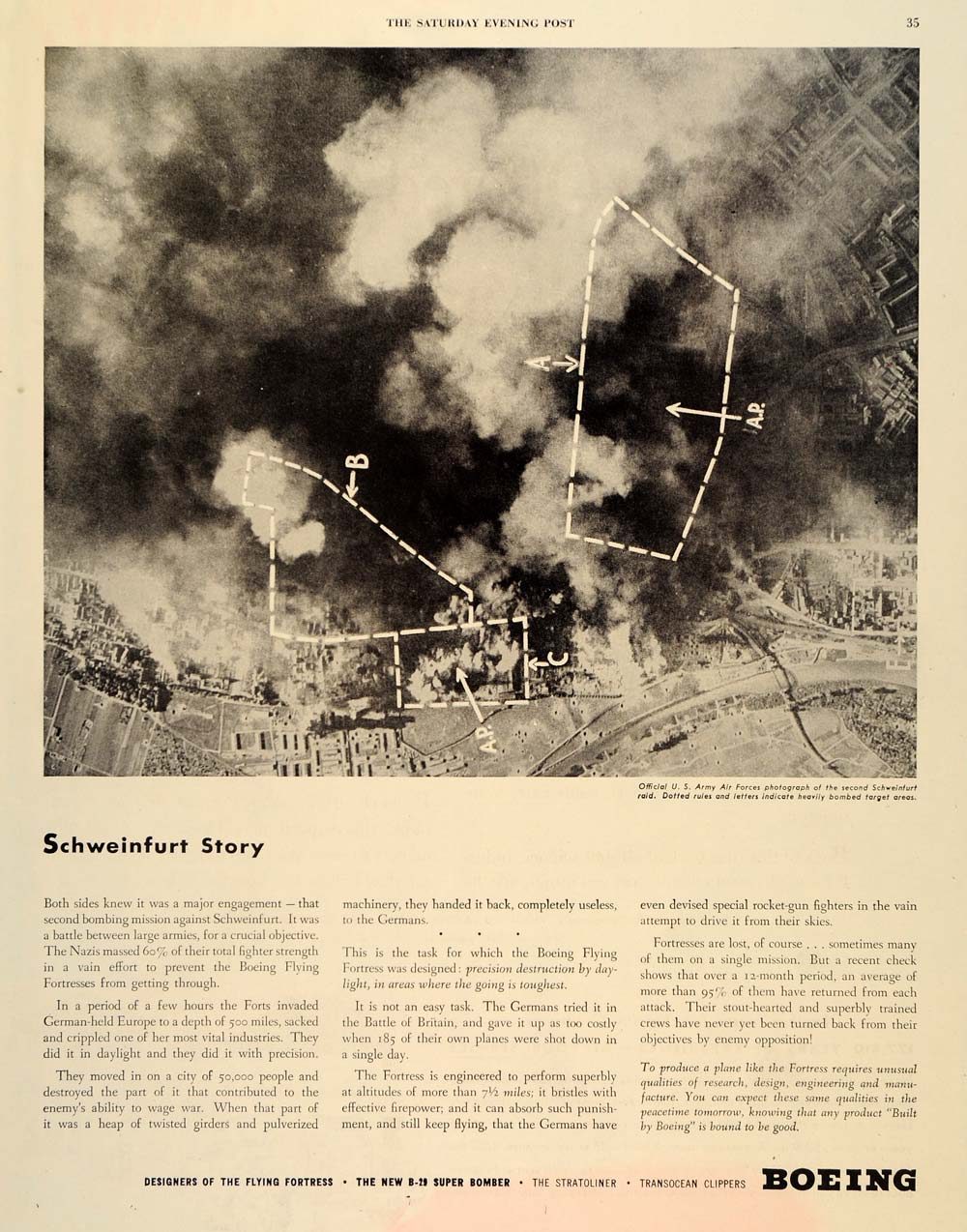 1944 Ad Boeing Flying Fortress Schweinfurt Story Army - ORIGINAL SEP3