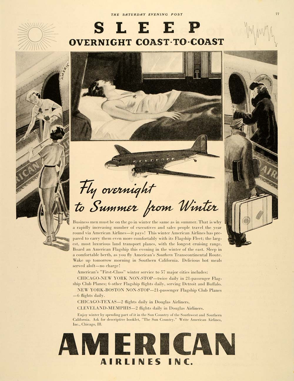1945 Ad American Airlines Inc. Sleep Coast Commercial - ORIGINAL SEP3