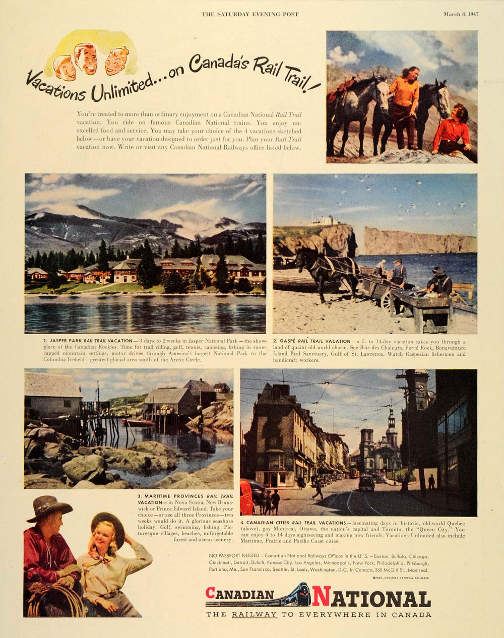 1947 Ad Canadian National Railway Rail Train Vacations - ORIGINAL SEP3