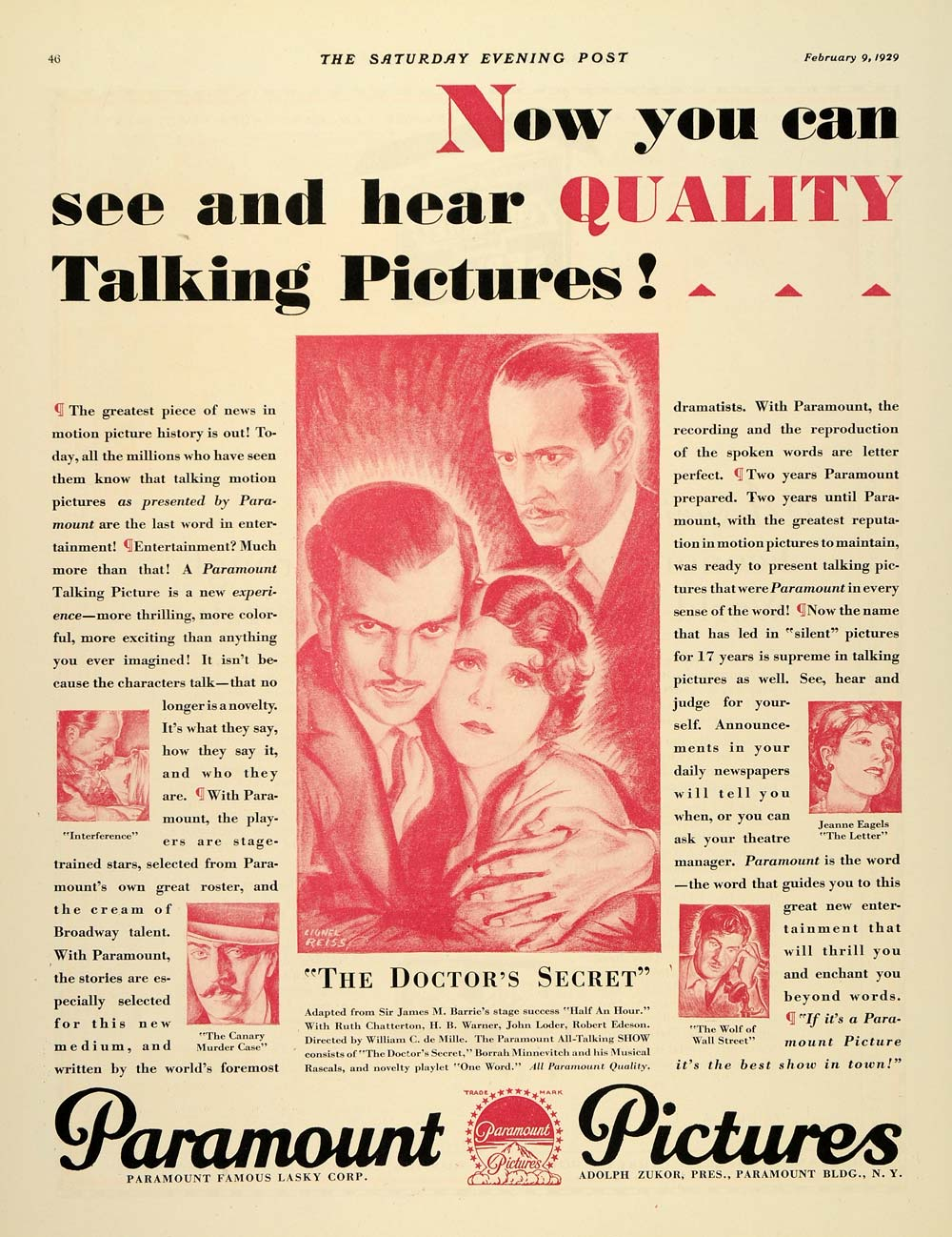 1929 Ad Paramount Pictures Doctors Secret Lionel Reiss - ORIGINAL SEP3