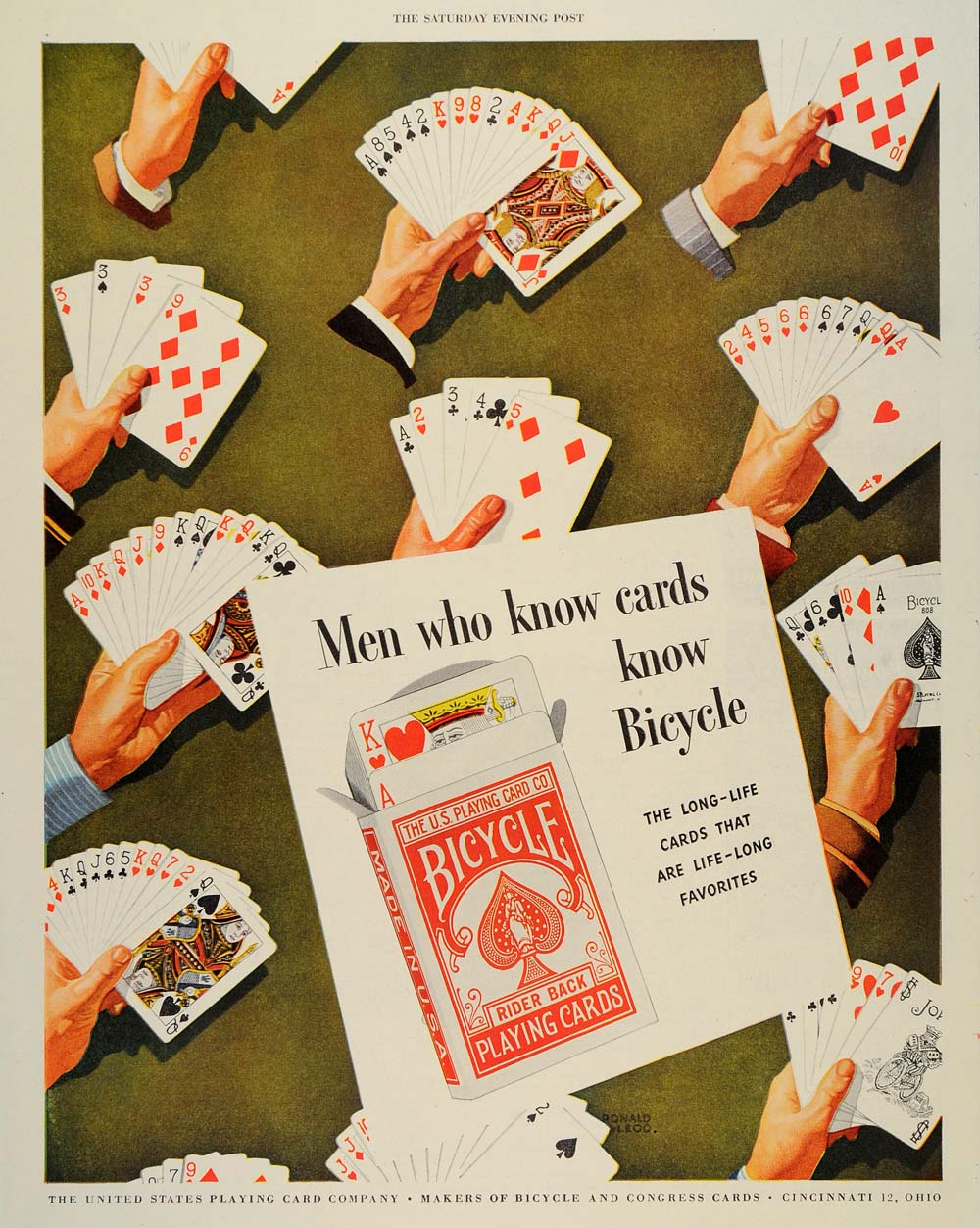 1946 Ad Bicycle Rider Back Playing Hand Of Cards - ORIGINAL ADVERTISING SEP3