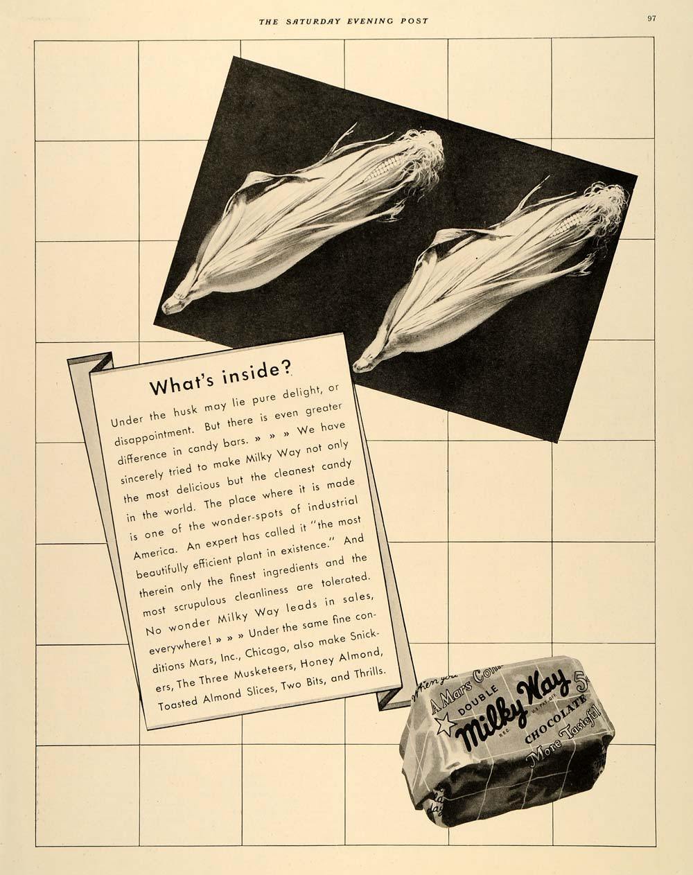 1934 Ad Milky Way Chocolates Candy Corn Husk Mars Inc - ORIGINAL SEP3
