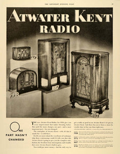 1933 Ad Atwater Kent Radio Model Numbers Music Box - ORIGINAL ADVERTISING SEP3