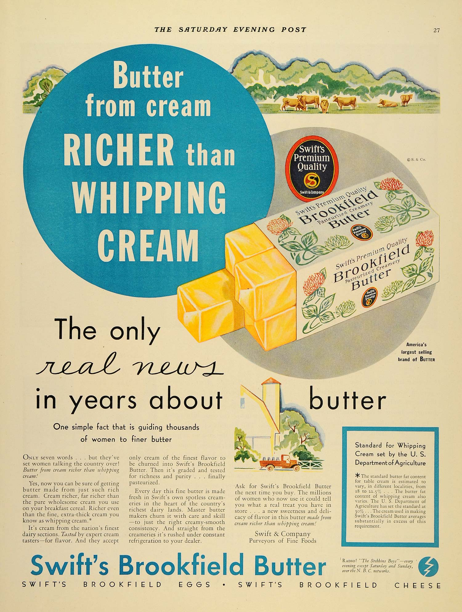1932 Ad Swift's Brookfield Butter Women Whipping Cream - ORIGINAL SEP3