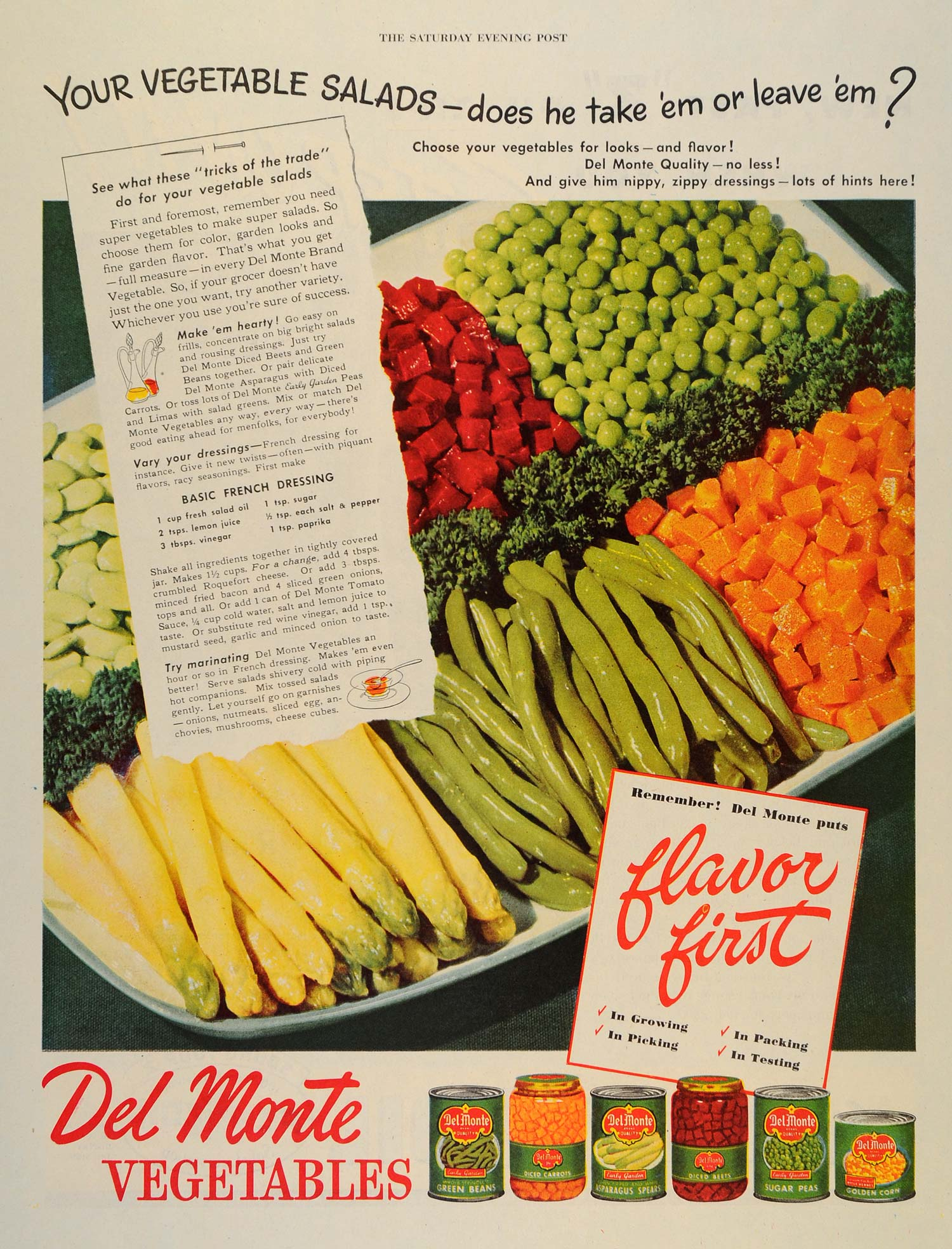 1946 Ad Del Monte Vegetable Salads Recipes Canned Cans - ORIGINAL SEP3