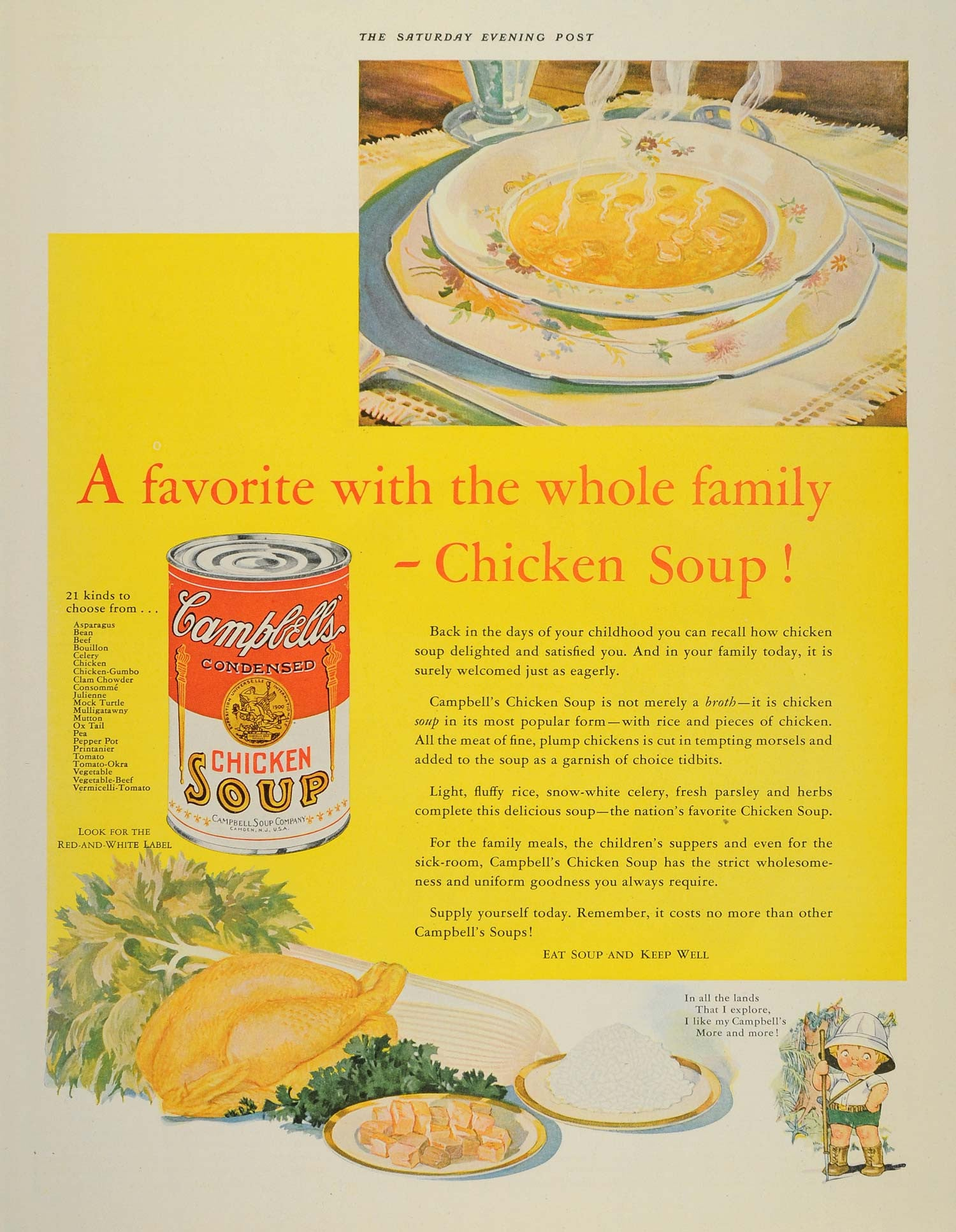 1932 Ad Campbells Chicken Soup Varieties Souper Kid - ORIGINAL ADVERTISING SEP3 - Period Paper