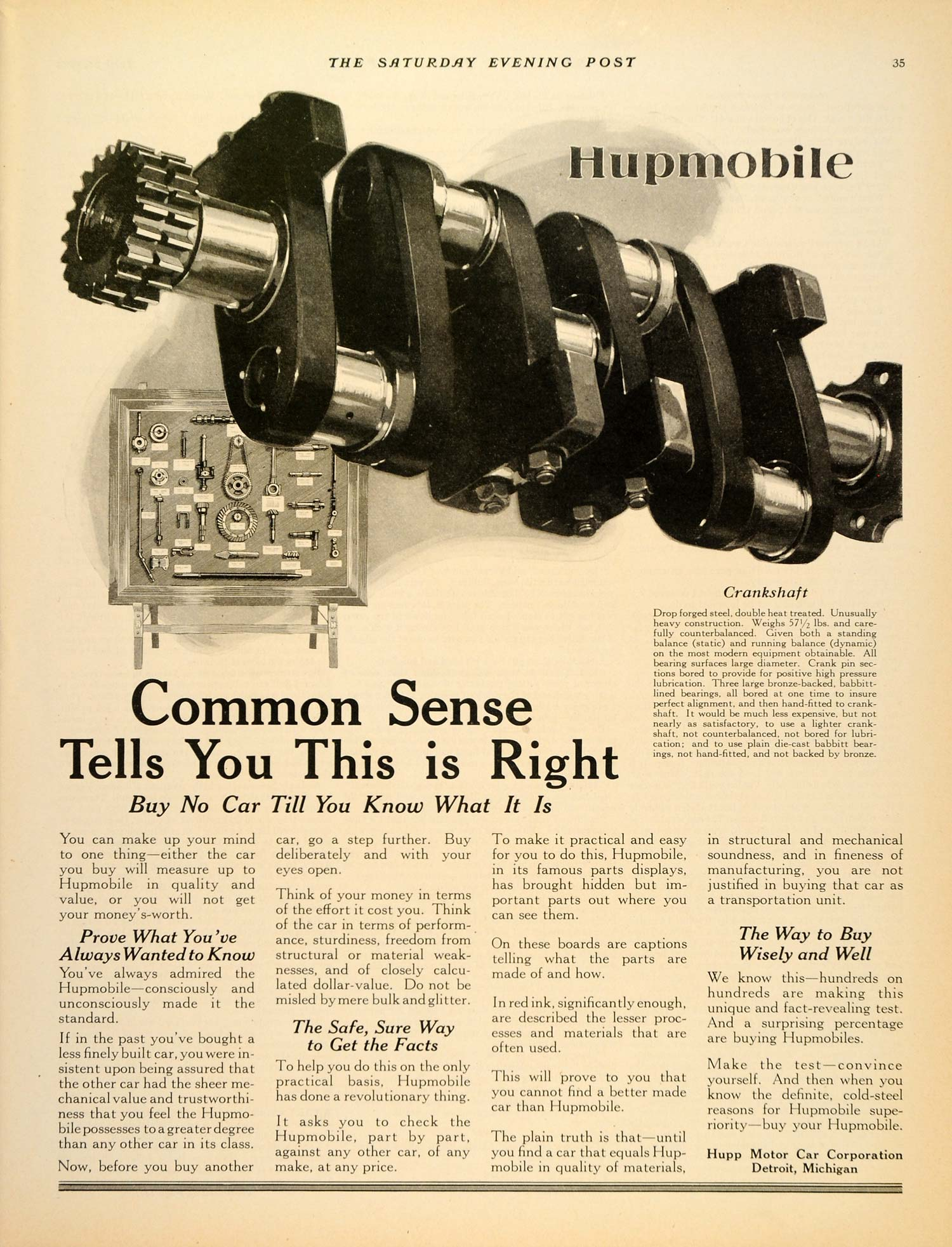 1924 Ad Commonsense Hupmobile Car Hupp Motor Detroit Original Advertising Sep3