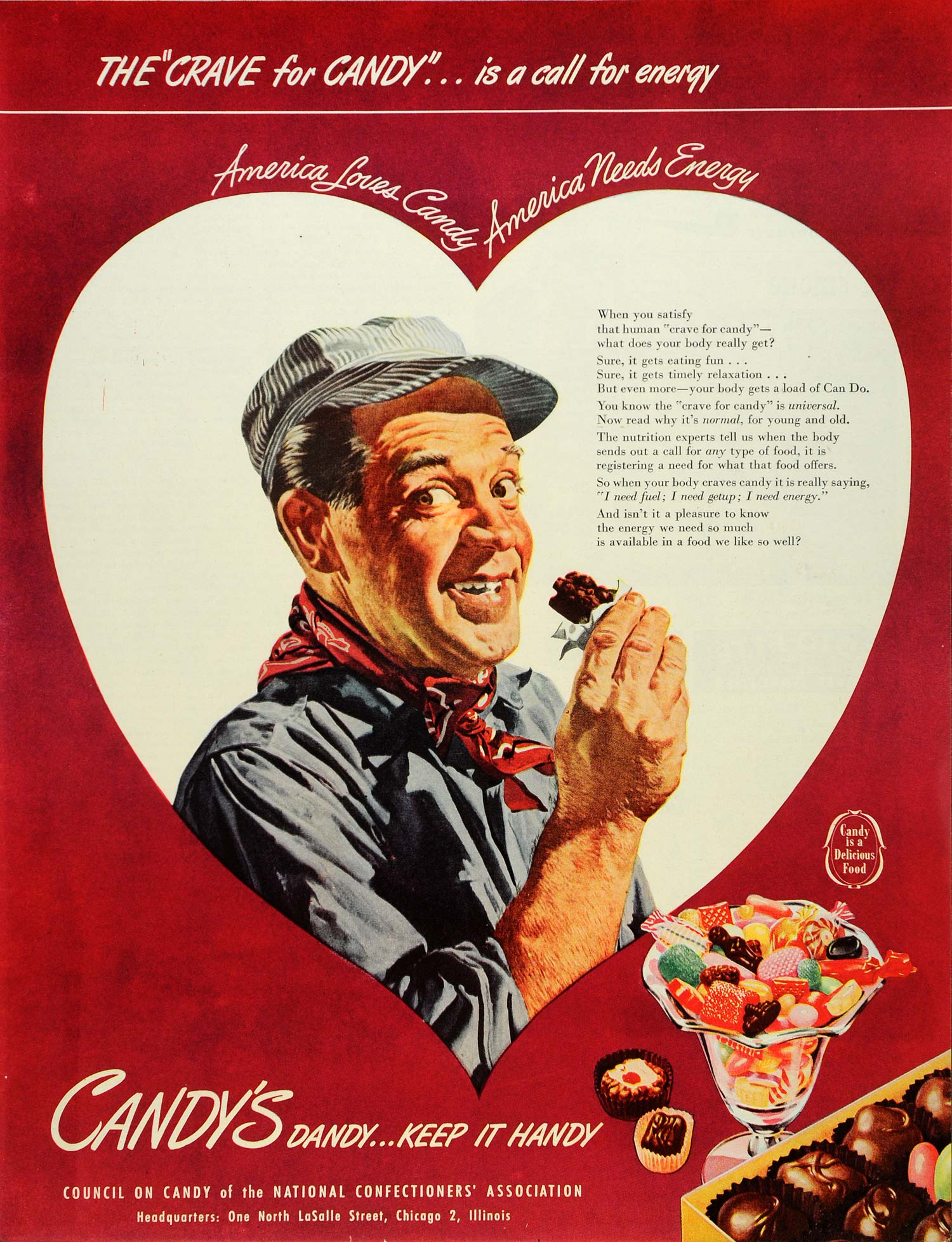 1946 Ad Council on Candy Chocolates Train Conductor - ORIGINAL ADVERTISING SEP4