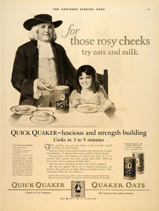 1924 Ad Quick Quaker Oats Man Milk Steaming Bowl Girl - ORIGINAL SEP4