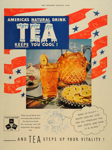 1938 Ad Black Iced Tea American Flag Pitcher Summer - ORIGINAL ADVERTISING SEP4 - Period Paper