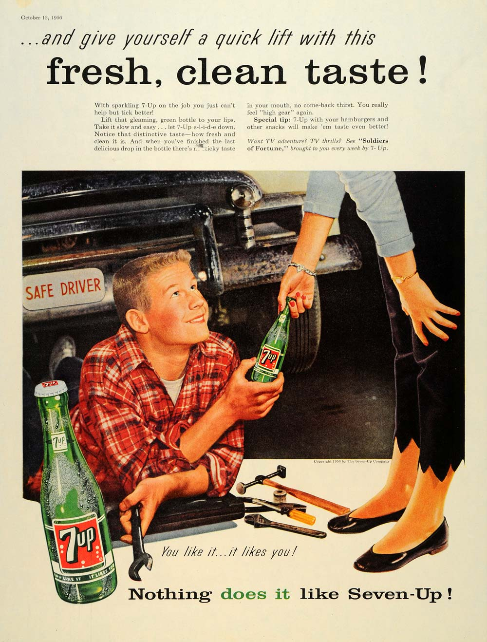 1956 Ad Vintage Car 7-UP Soldiers of Fortune Mechanic - ORIGINAL SEP4