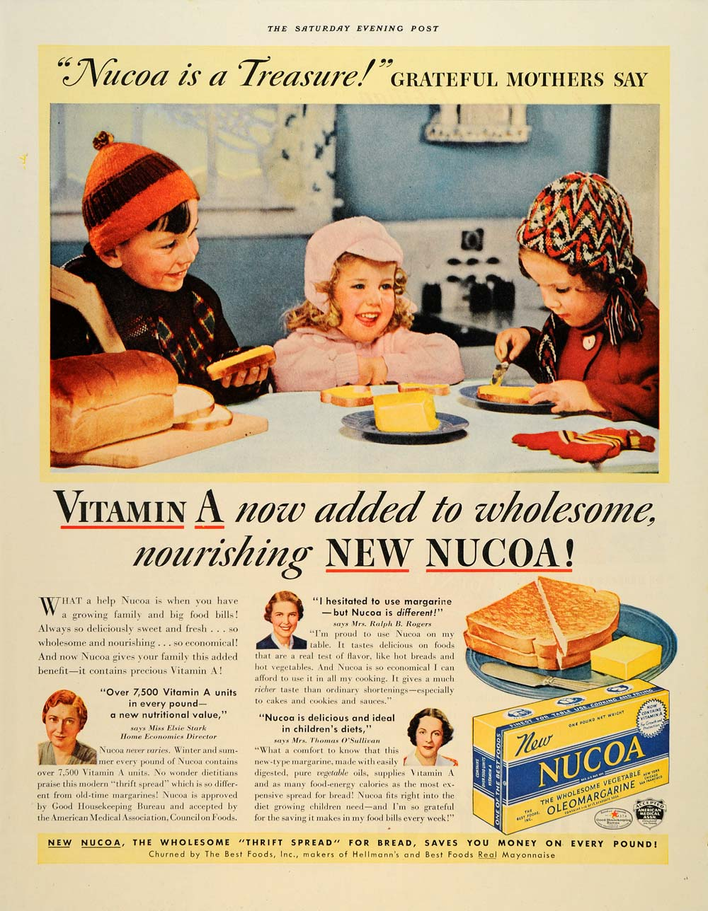 1938 Ad Nucoa Hellman's Children Oleomargarin Vitamin A - ORIGINAL SEP4
