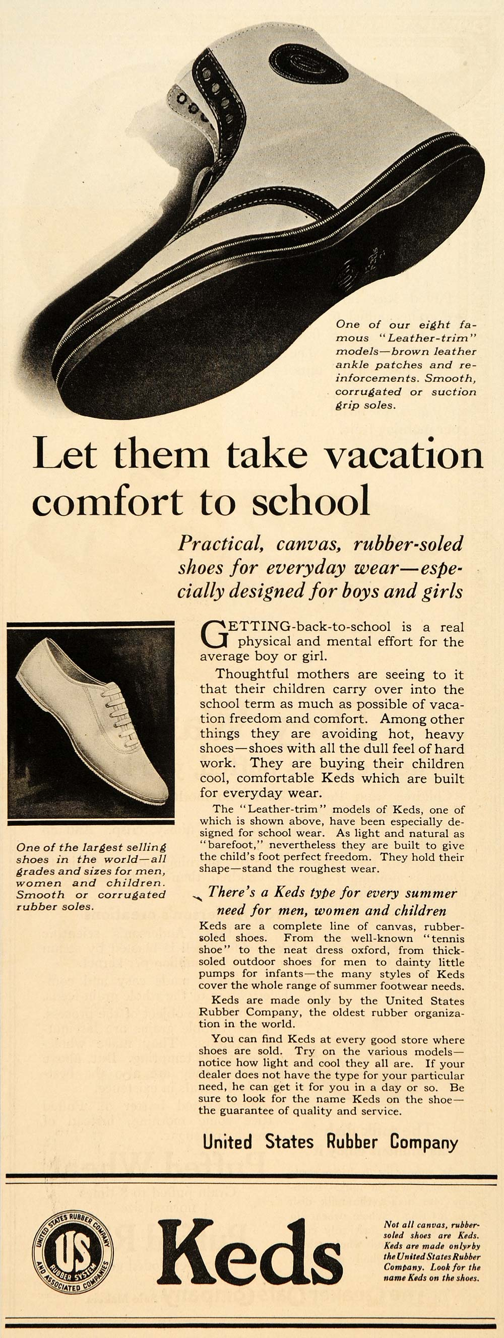 1921 Ad Keds Rubber Shoes Leather Trim Soles Feet Child - ORIGINAL SEP4