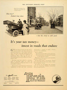 1918 Ad Tarvia Pavements Barrett Harvard Cambridge - ORIGINAL ADVERTISING SEP4