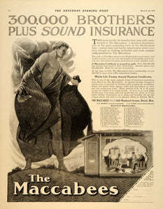 1917 Ad Maccabee Insurance Woodward Avenue Detroit - ORIGINAL ADVERTISING SEP4