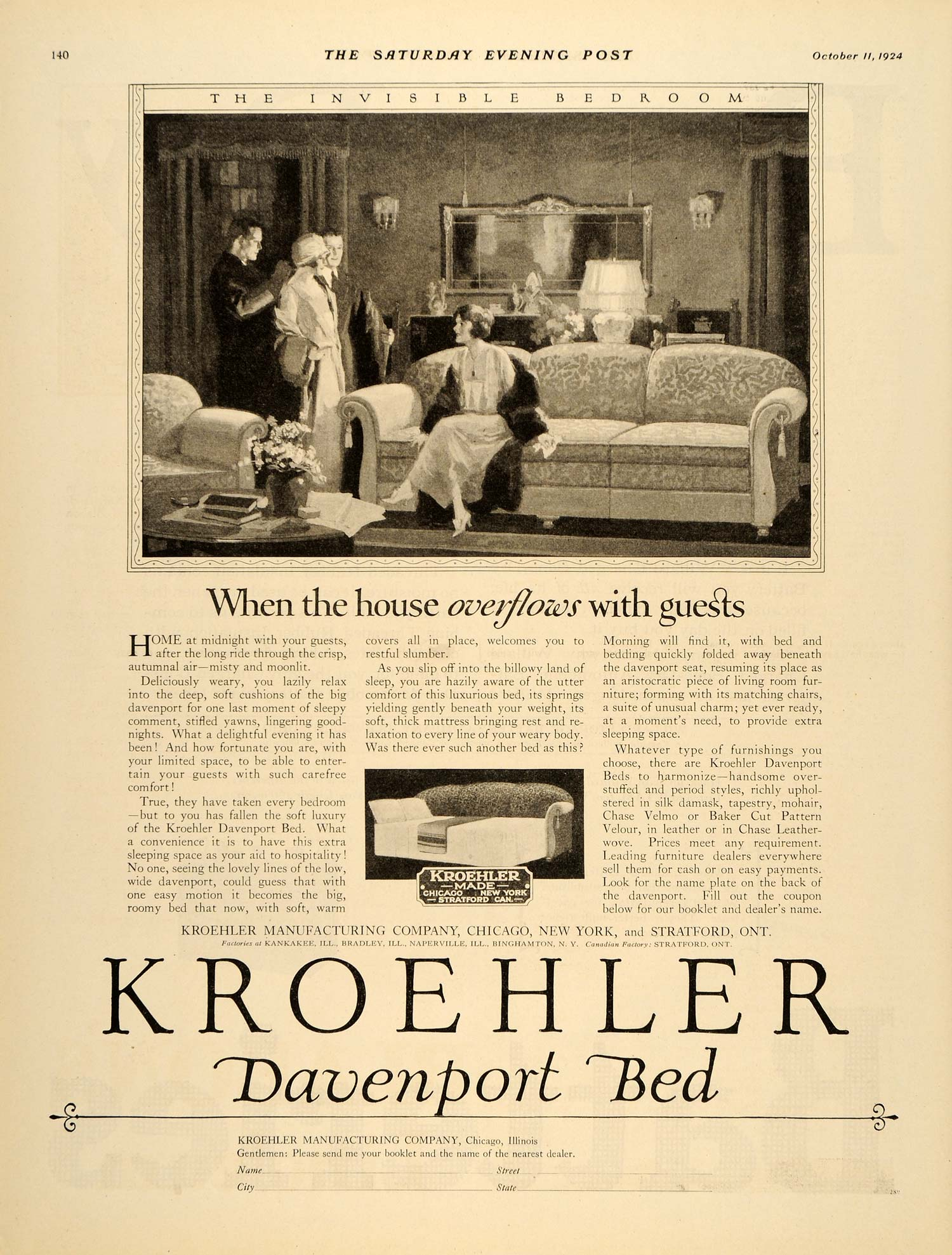Bon 1924 Ad Kroehler Davenport Bed Furniture Couch Sofa   ORIGINAL ADVERTISING  SEP4