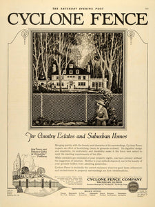 1921 Ad Cyclone Fence Country Estate Waukegan Cleveland - ORIGINAL SEP4