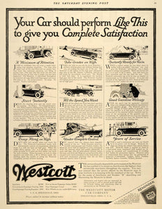 1918 Ad Westcott Sportster Touring Roadster Car Coupe - ORIGINAL SEP4
