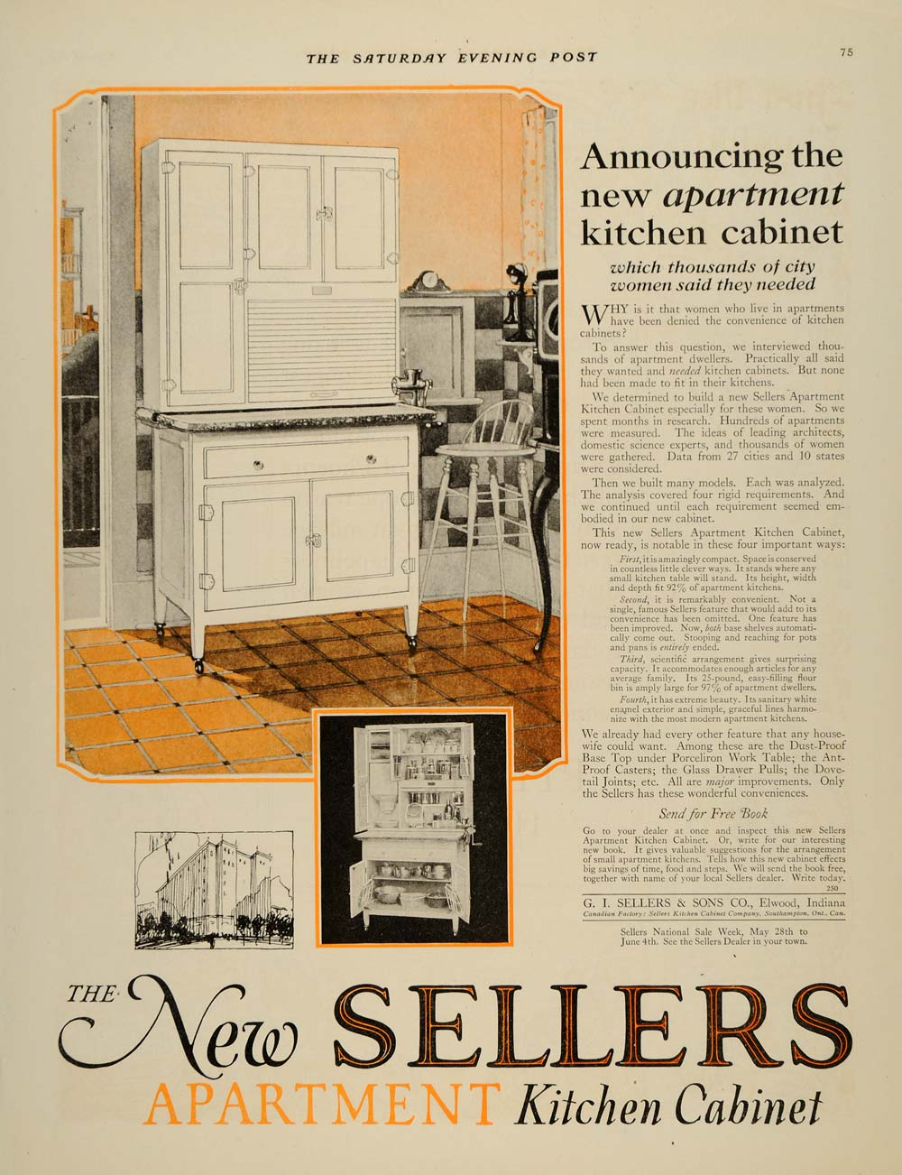 1921 Ad G I Sellers Apartment Kitchen Cabinets Orange Original Sep4