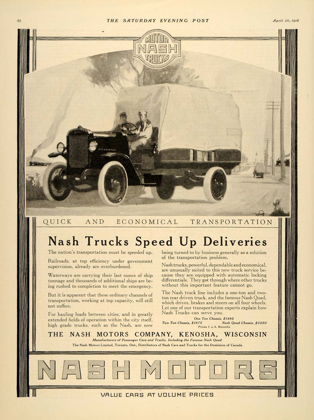 1918 Ad Nash Motors Truck Cars Kenosha Delivery Quad - ORIGINAL ADVERTISING SEP4