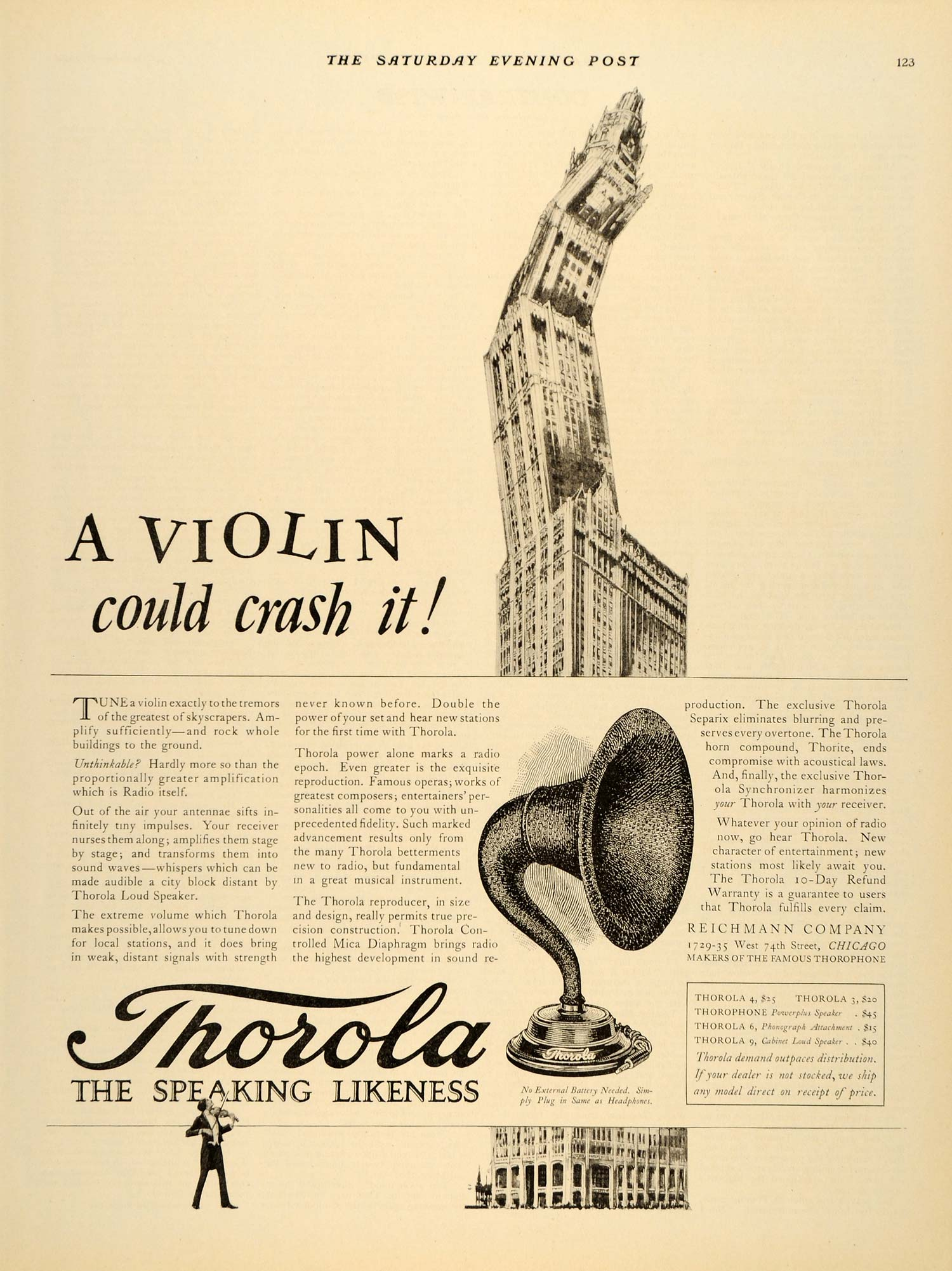 1924 Ad Reichmann Thorola Loudspeaker Horn Compound - ORIGINAL ADVERTISING SEP4