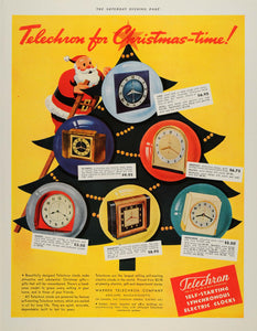 1937 Ad Telechron Desk Alarm Clock Santa Christmas - ORIGINAL ADVERTISING SEP4