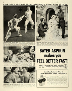 1957 Ad Fencing Birthday Party Bayer Aspirin Pain Relief Pill Snowman SEP5