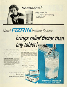 1957 Ad Fizrin Instant Seltzer Pain Headache Relief Tablet Analgesic SEP5